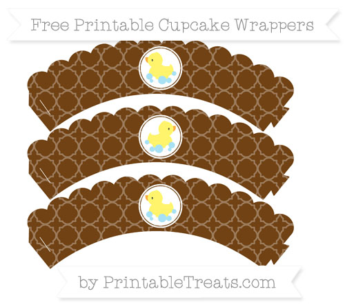 Free Sepia Quatrefoil Pattern Baby Duck Scalloped Cupcake Wrappers