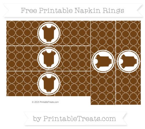 Free Sepia Quatrefoil Pattern Baby Onesie Napkin Rings