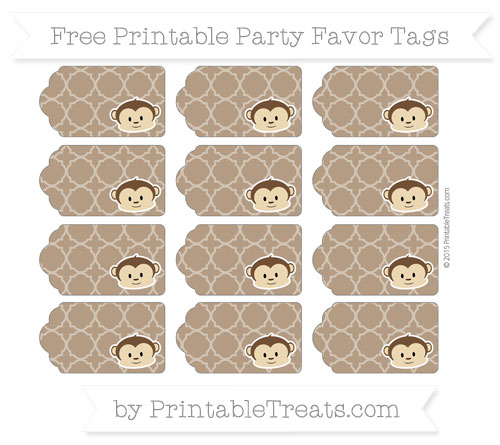 Free Sepia Quatrefoil Pattern Boy Monkey Party Favor Tags