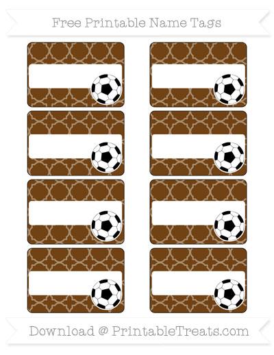 Free Sepia Quatrefoil Pattern Soccer Name Tags