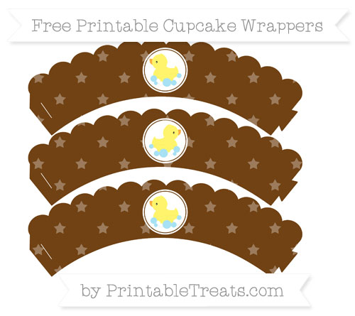 Free Sepia Star Pattern Baby Duck Scalloped Cupcake Wrappers