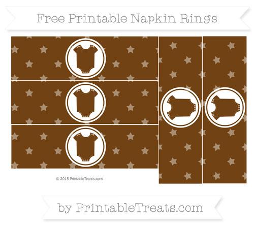 Free Sepia Star Pattern Baby Onesie Napkin Rings