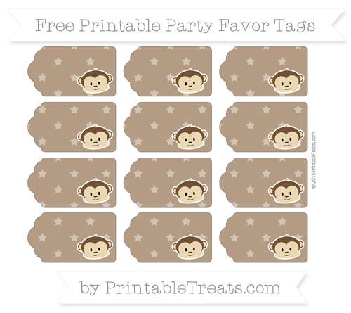 Free Sepia Star Pattern Boy Monkey Party Favor Tags