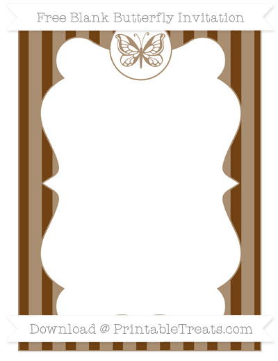 Free Sepia Striped Blank Butterfly Invitation