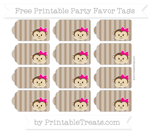 Free Sepia Striped Girl Monkey Party Favor Tags