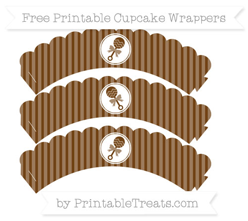 Free Sepia Thin Striped Pattern Baby Rattle Scalloped Cupcake Wrappers