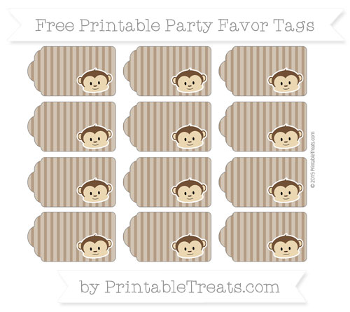 Free Sepia Thin Striped Pattern Boy Monkey Party Favor Tags