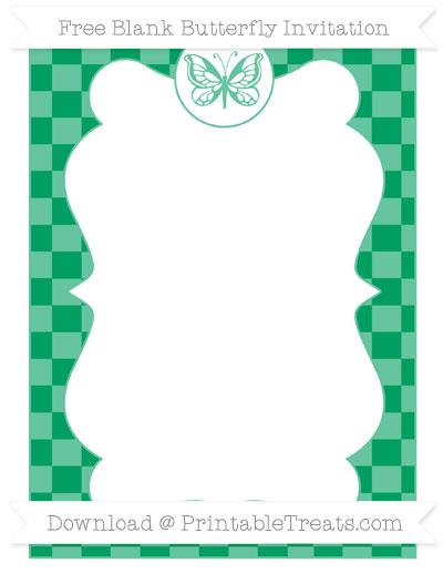 Free Shamrock Green Checker Pattern Blank Butterfly Invitation