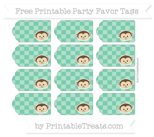 Free Shamrock Green Checker Pattern Boy Monkey Party Favor Tags
