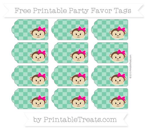 Free Shamrock Green Checker Pattern Girl Monkey Party Favor Tags