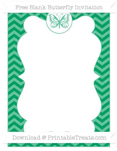 Free Shamrock Green Chevron Blank Butterfly Invitation