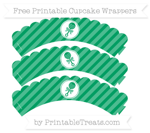 Free Shamrock Green Diagonal Striped Baby Rattle Scalloped Cupcake Wrappers
