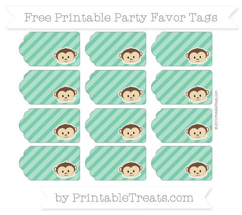Free Shamrock Green Diagonal Striped Boy Monkey Party Favor Tags