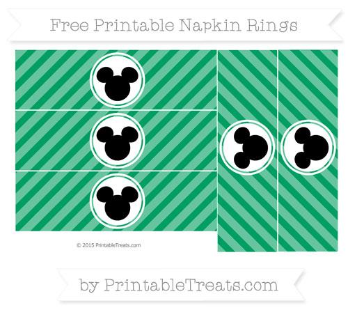 Free Shamrock Green Diagonal Striped Mickey Mouse Napkin Rings