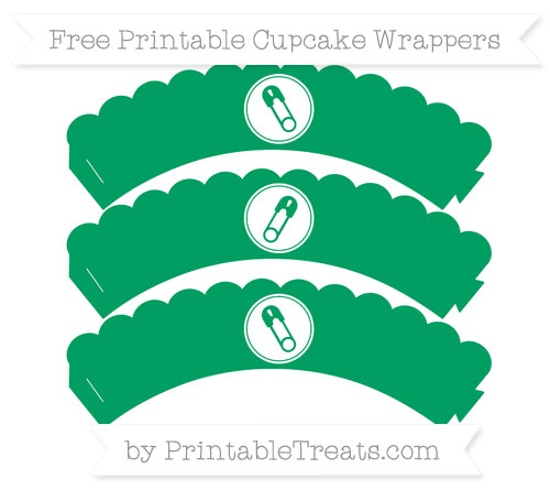 Free Shamrock Green Diaper Pin Scalloped Cupcake Wrappers