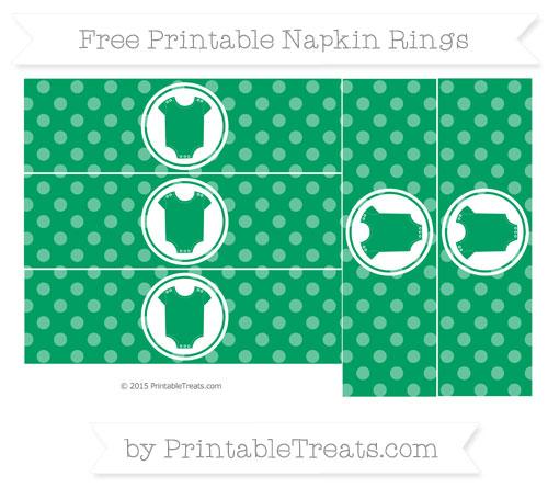 Free Shamrock Green Dotted Pattern Baby Onesie Napkin Rings