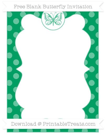 Free Shamrock Green Dotted Pattern Blank Butterfly Invitation