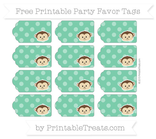 Free Shamrock Green Dotted Pattern Boy Monkey Party Favor Tags