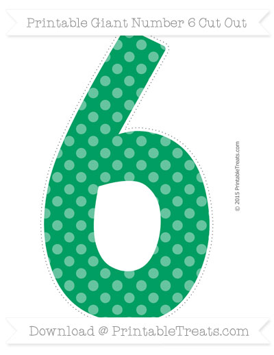 Free Shamrock Green Dotted Pattern Giant Number 6 Cut Out