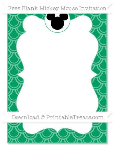 Free Shamrock Green Fish Scale Pattern Blank Mickey Mouse Invitation