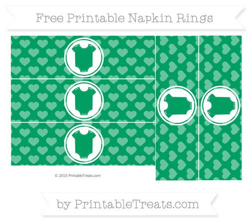 Free Shamrock Green Heart Pattern Baby Onesie Napkin Rings
