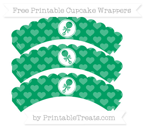 Free Shamrock Green Heart Pattern Baby Rattle Scalloped Cupcake Wrappers