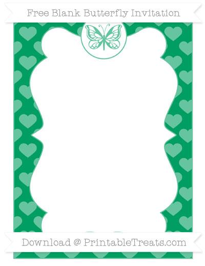 Free Shamrock Green Heart Pattern Blank Butterfly Invitation