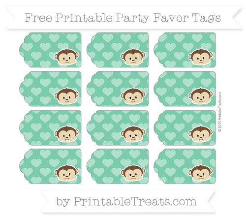 Free Shamrock Green Heart Pattern Boy Monkey Party Favor Tags