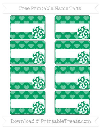 Free Shamrock Green Heart Pattern Cheer Pom Pom Tags