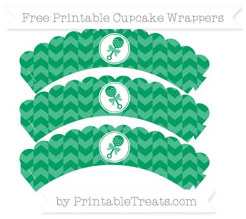 Free Shamrock Green Herringbone Pattern Baby Rattle Scalloped Cupcake Wrappers