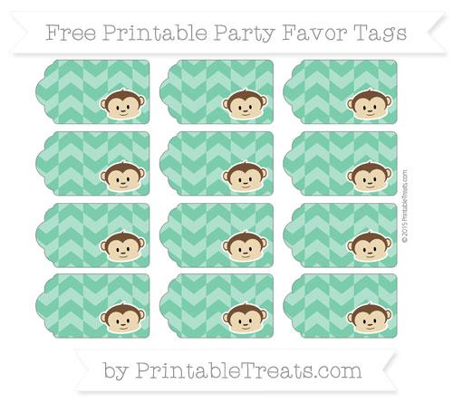 Free Shamrock Green Herringbone Pattern Boy Monkey Party Favor Tags