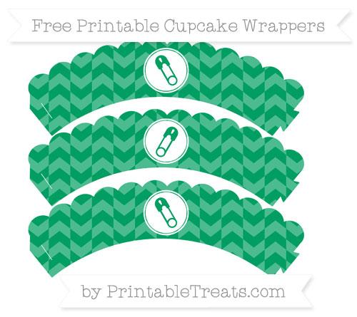 Free Shamrock Green Herringbone Pattern Diaper Pin Scalloped Cupcake Wrappers