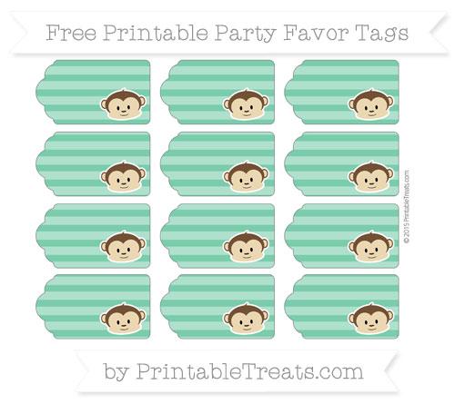 Free Shamrock Green Horizontal Striped Boy Monkey Party Favor Tags