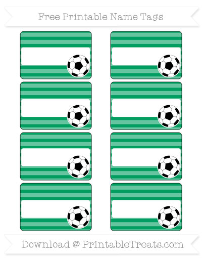 Free Shamrock Green Horizontal Striped Soccer Name Tags