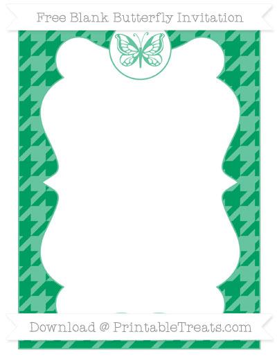 Free Shamrock Green Houndstooth Pattern Blank Butterfly Invitation