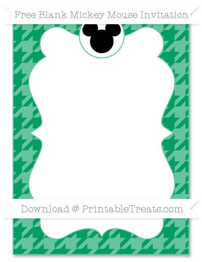 Free Shamrock Green Houndstooth Pattern Blank Mickey Mouse Invitation
