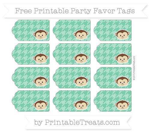 Free Shamrock Green Houndstooth Pattern Boy Monkey Party Favor Tags