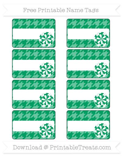 Free Shamrock Green Houndstooth Pattern Cheer Pom Pom Tags