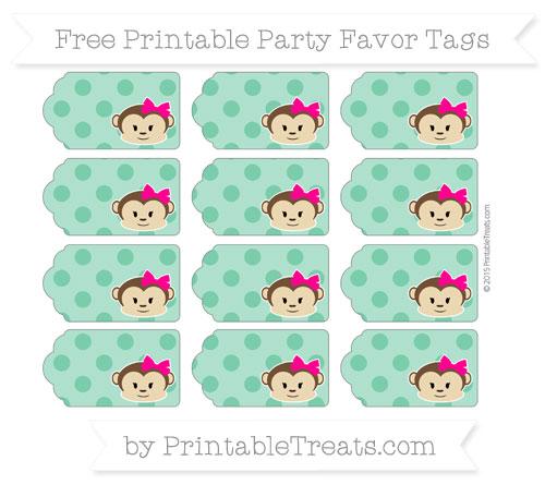 Free Shamrock Green Polka Dot Girl Monkey Party Favor Tags