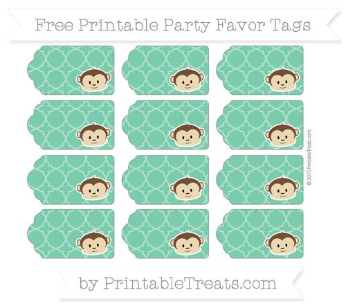 Free Shamrock Green Quatrefoil Pattern Boy Monkey Party Favor Tags