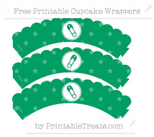 Free Shamrock Green Star Pattern Diaper Pin Scalloped Cupcake Wrappers