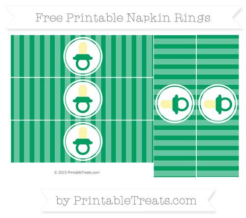 Free Shamrock Green Striped Baby Pacifier Napkin Rings