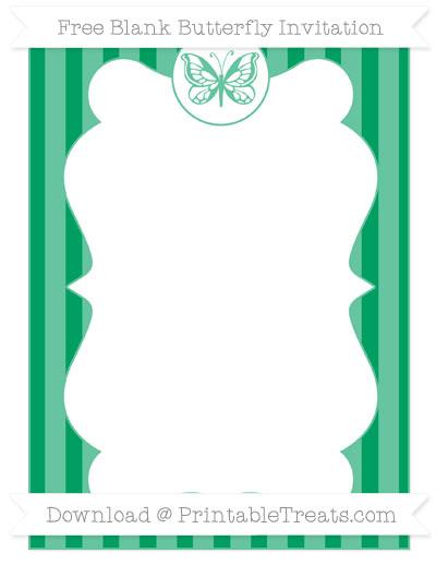 Free Shamrock Green Striped Blank Butterfly Invitation