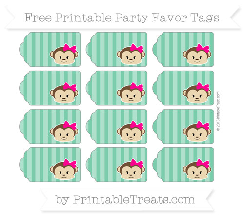 Free Shamrock Green Striped Girl Monkey Party Favor Tags