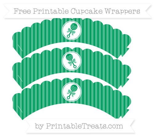Free Shamrock Green Thin Striped Pattern Baby Rattle Scalloped Cupcake Wrappers
