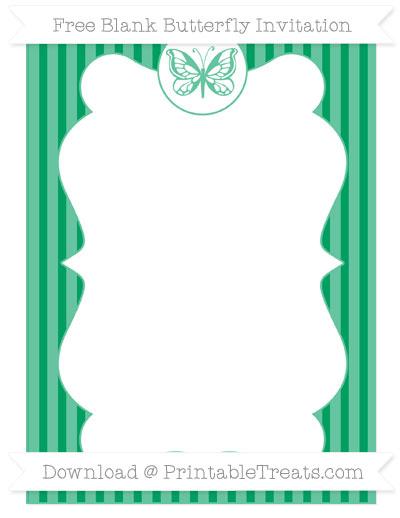 Free Shamrock Green Thin Striped Pattern Blank Butterfly Invitation