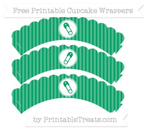 Free Shamrock Green Thin Striped Pattern Diaper Pin Scalloped Cupcake Wrappers