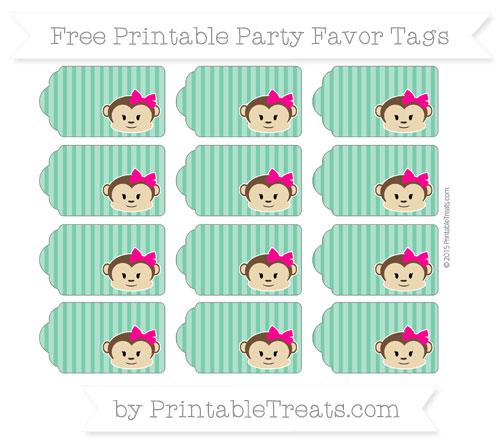 Free Shamrock Green Thin Striped Pattern Girl Monkey Party Favor Tags