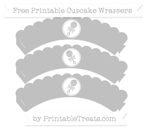 Free Silver Baby Rattle Scalloped Cupcake Wrappers