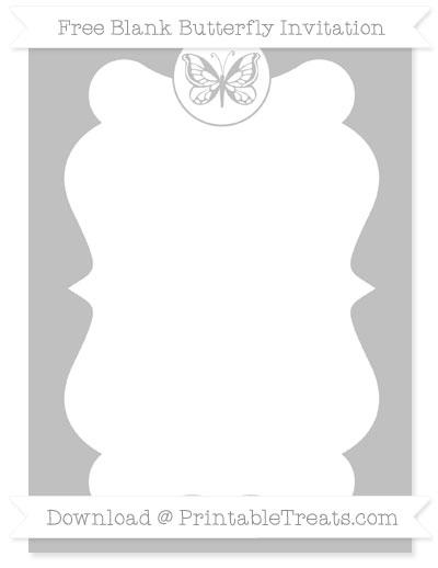Free Silver Blank Butterfly Invitation